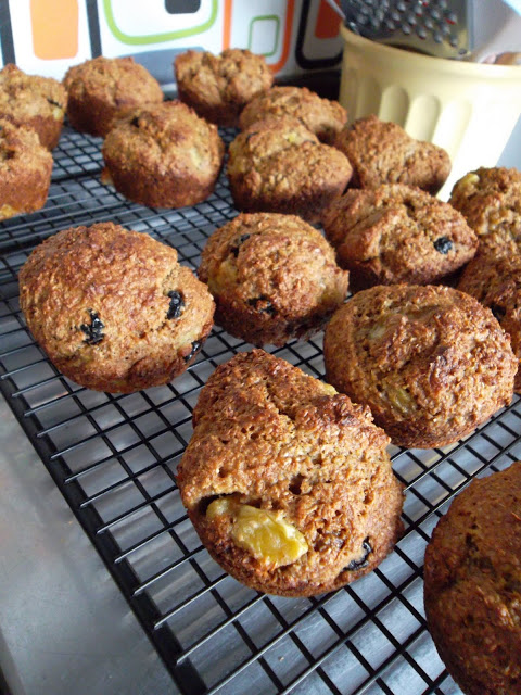 *Bran*d New Blueberry Banana Muffins!