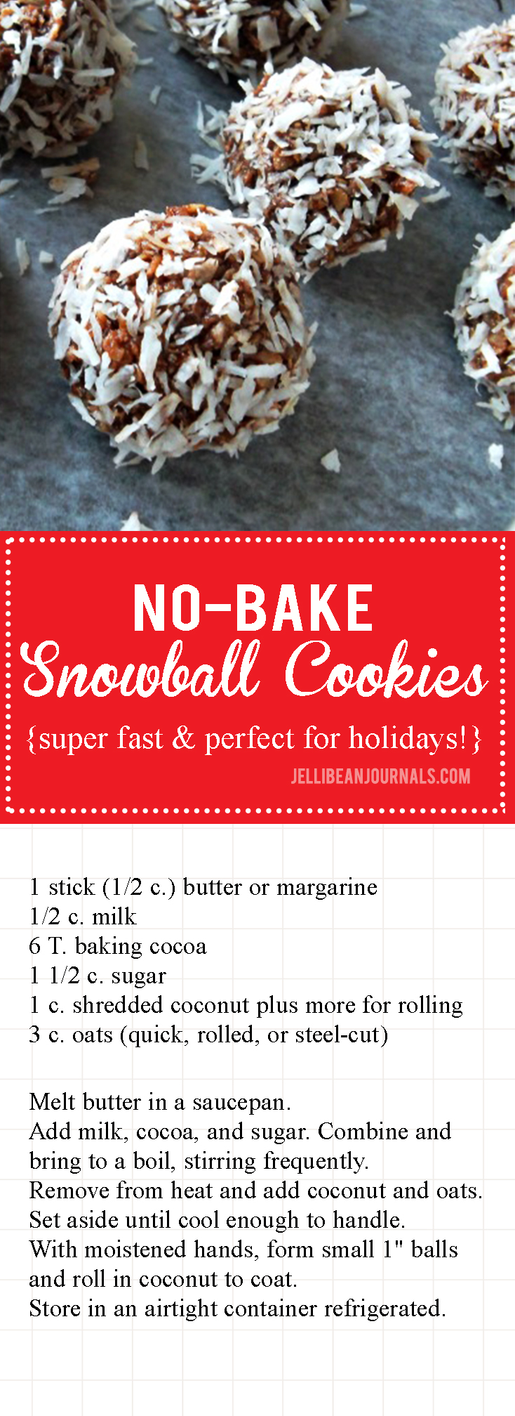 No-Bake Snowball Cookies | Jellibeanjournals.com