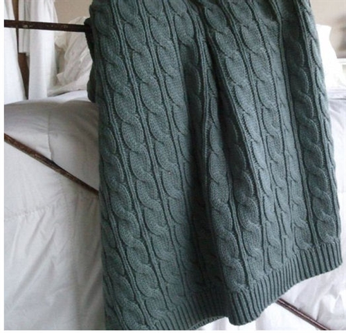 organic cableknit throw our green house