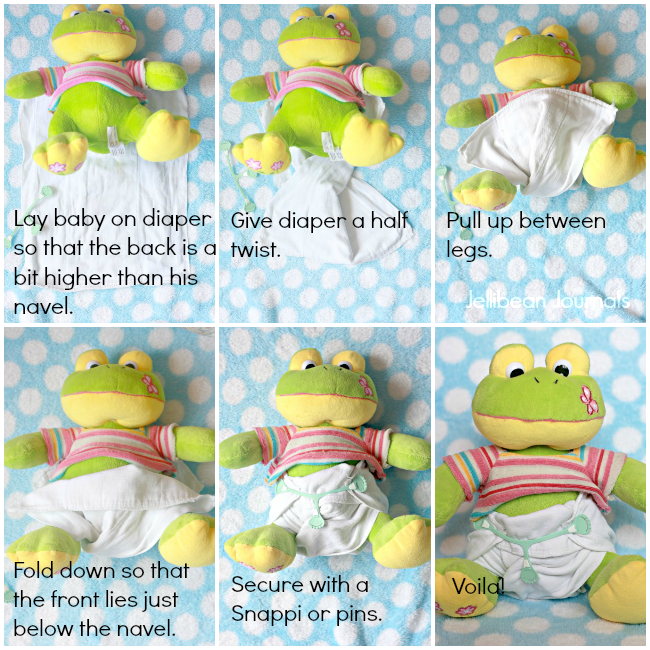 cloth diaper newborn in infant prefolds