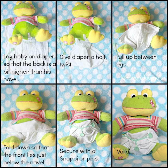 cloth diaper newborn in infant prefolds