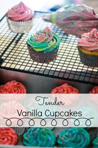Tender Vanilla Cupcakes- light and fluffy like a box mix, but from scratch! #cupcakes | Jellibean Journals
