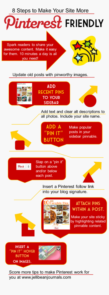 8 Ways to Make Your Site PInterest-Friendly #pinterest #blogtips| JellibeanJournals.com