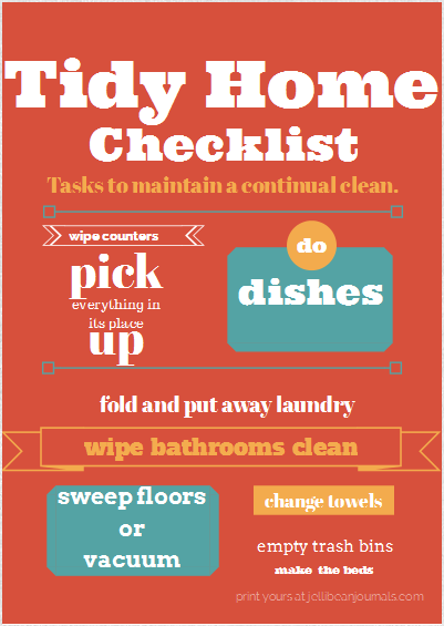 Tidy Home Checklist Free Printable | http://www.jellibeanjournals.com/tidy-home