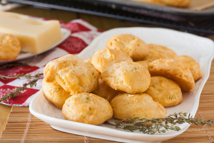 French Cheese Puffs- mouth-watering aged cheese and thyme baked in choux pastry. #cheese #cheesepuffs #choux   JellibeanJournals.com