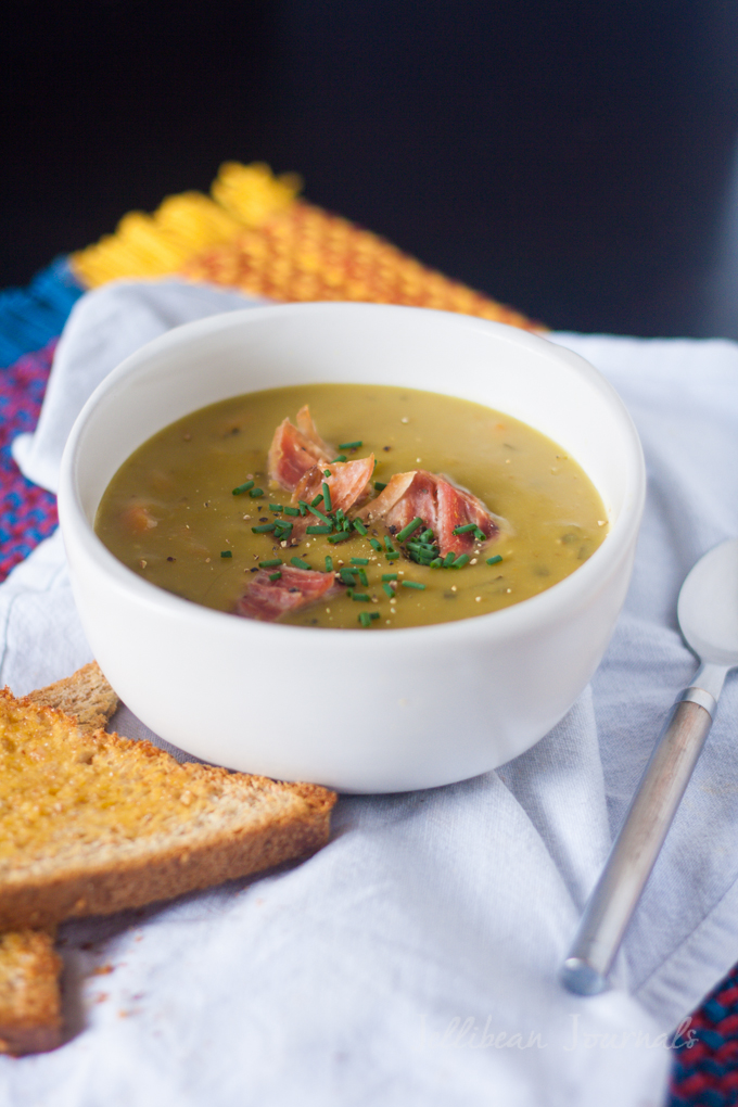 Split Pea Soup- Toss in the ingredient and forget about it. No-fuss delicious dinner served! #soup #peasoup | JellibeanJournals.com