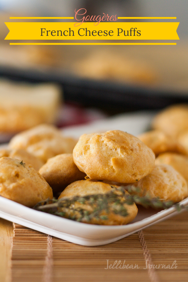 Gougères {French Cheese Puffs} Easy & impressive appetizer made with tangy aged cheese. #cheese #choux #appetizer   Jellibean Journals