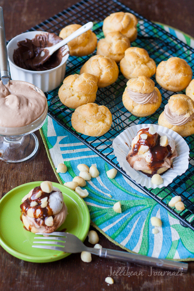 Homemade Nutella Cream Puffs- choux pastry filled with lush Nutella whipped cream #nutella #pastry | Jellibean Journals