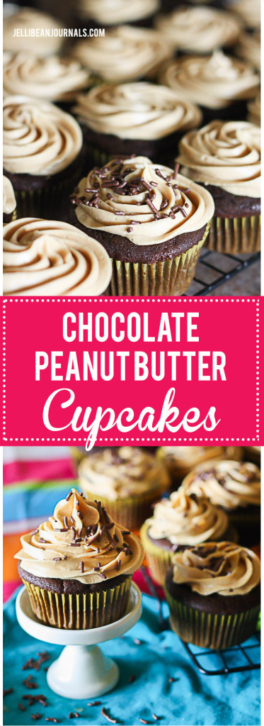 Failproof Chocolate Cupcakes with blow-your-socks-off peanut butter frosting. Wow! Must try these now. | Jellibeanjournals.com