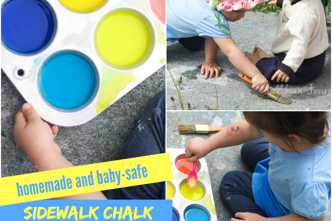Homemade {Edible} Sidewalk Chalk Paint | Jellibeanjournals.com