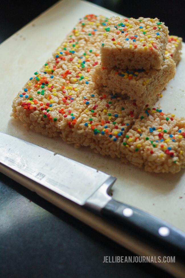 rice krispy treats with sprinkles