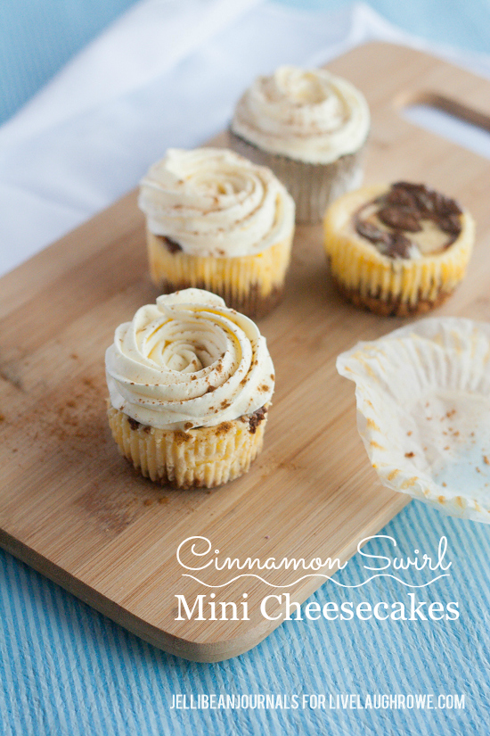 cinnamon swirl mini cheesecakes- jellibean journals for live laugh rowe