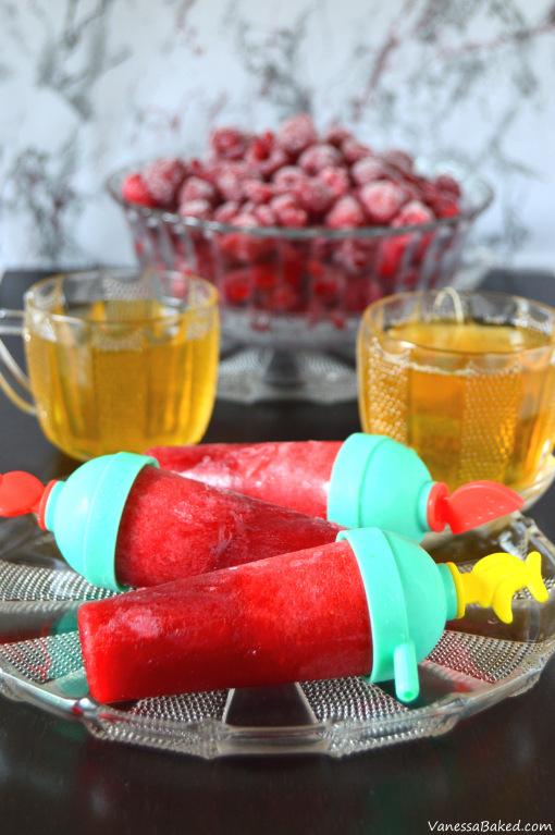 raspberry green tea popsicles