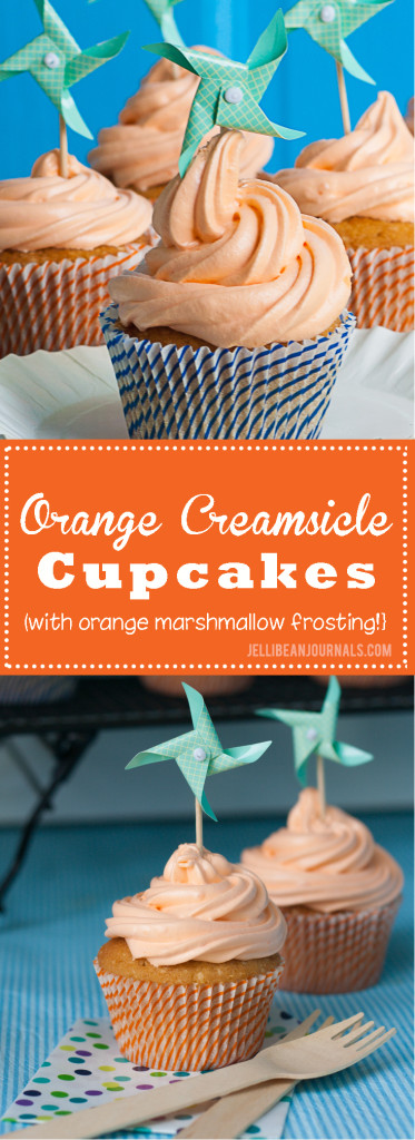 Orange creamsicle cupcakes with fluffy orange marshmallow frosting | Jellibeanjournals.com