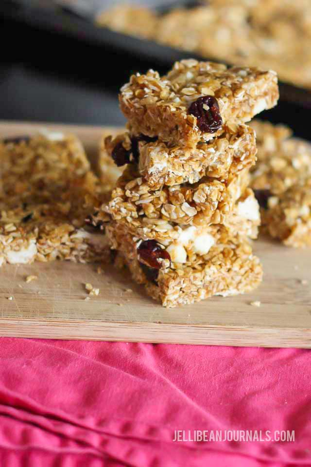 white chocolate cherry granola bars