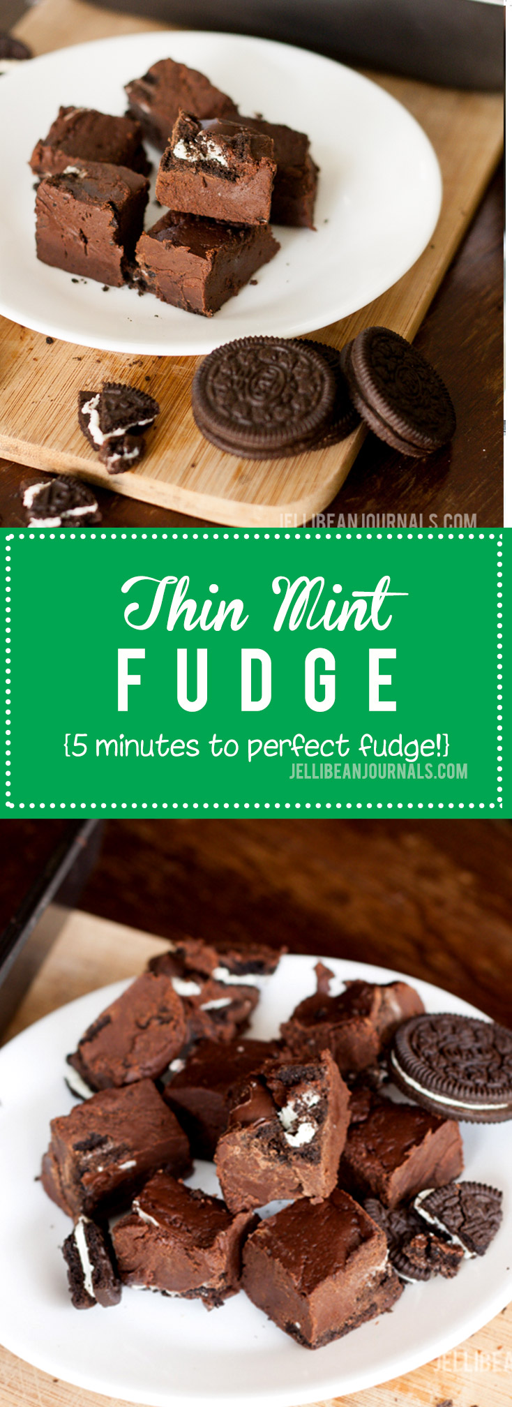 Unforgettable Thin Mint Fudge made with Oreos| Jellibeanjournals.com