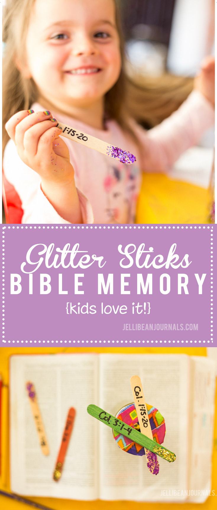 Teach your kids the Bible with fun Scripture glitter sticks | jellibeanjournals.com