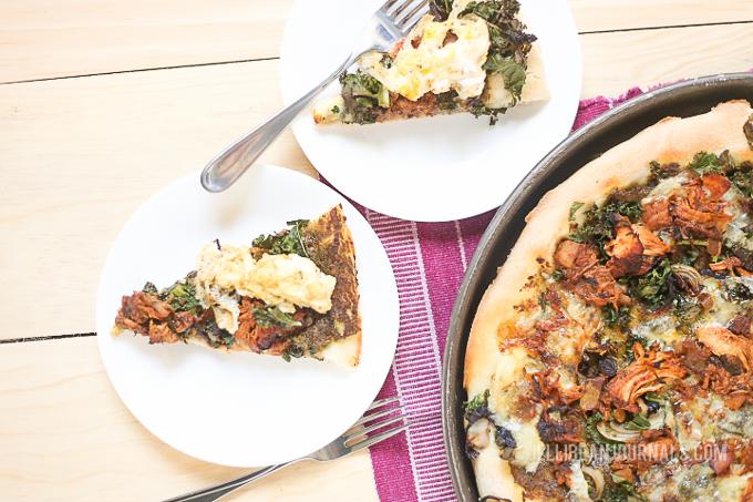 Pesto Chicken Pizza with Garam Masala and Greens | Jellibeanjournals.com