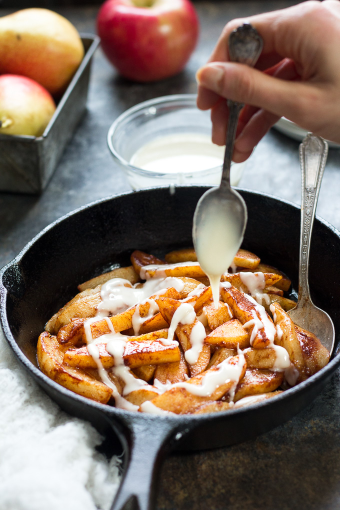 Cinnamon apples and pears with coconut butter