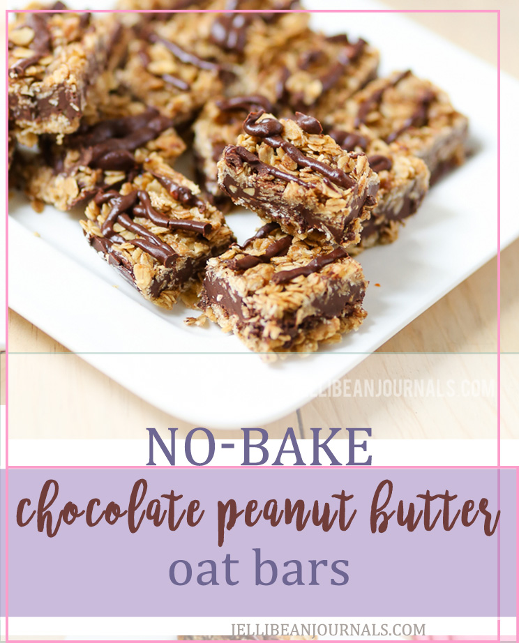 No-Bake Chocolate Peanut Butter Oat Squares | Jellibeanjournals.com